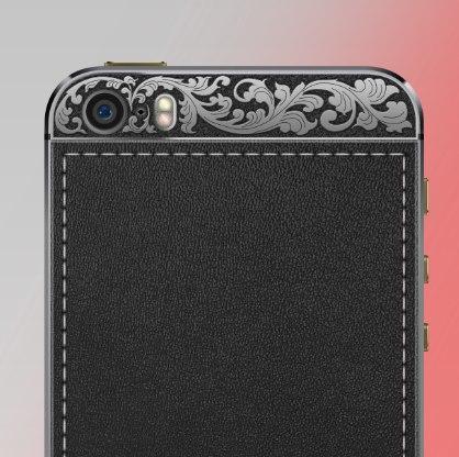 Макет телефона с черненным серебром.
