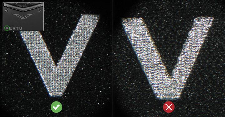 Проверка шрифта логотипа под микроскопом