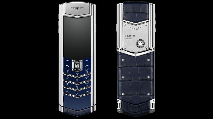 Vertu Signature S Navy Alligator — кожа аллигатора темно-синего цвета