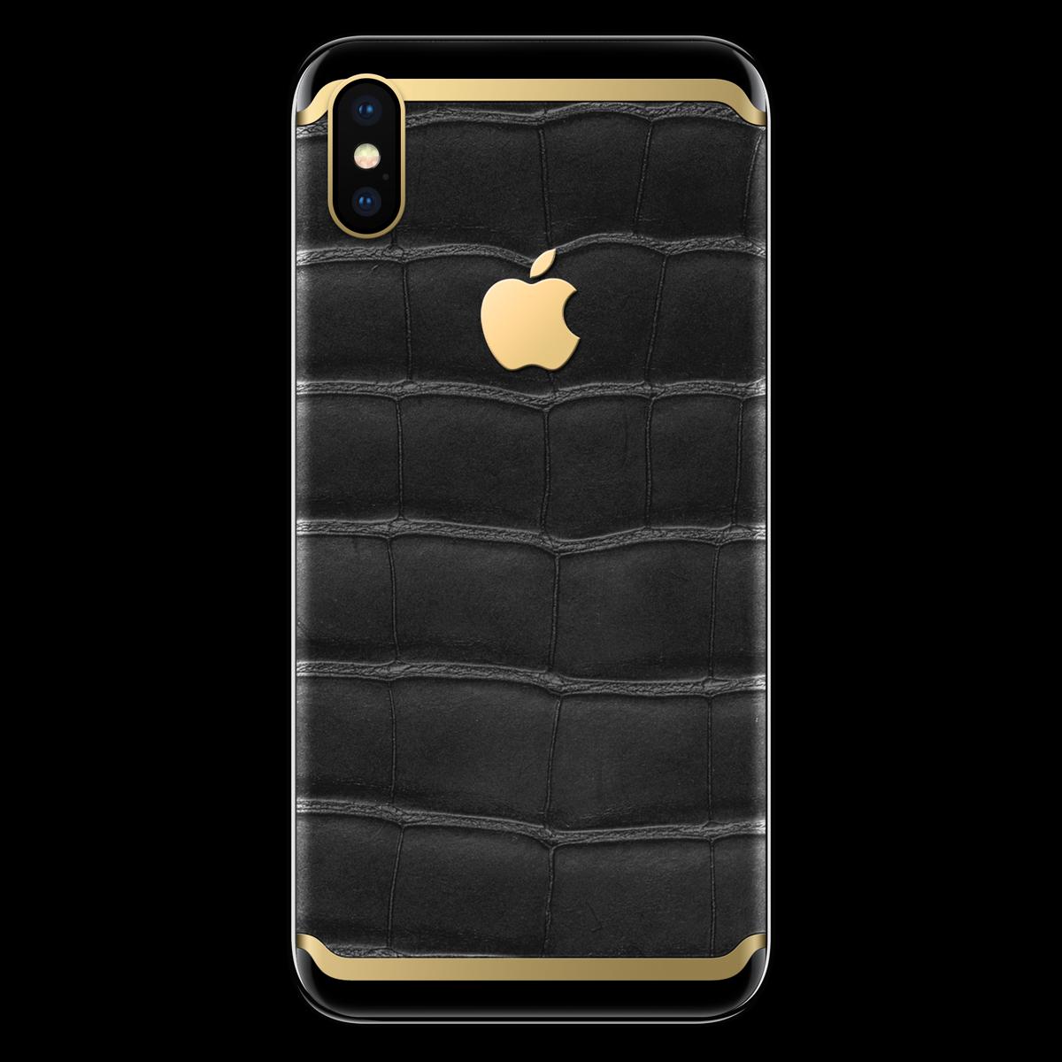 Моддинг iPhone X крокодил с золотом