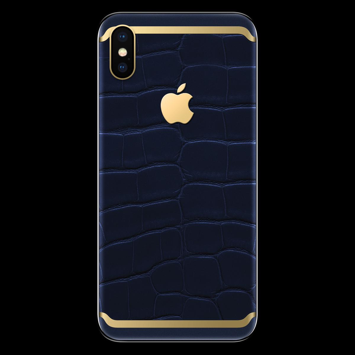 Моддинг iPhone X аллигатор синий с золотом