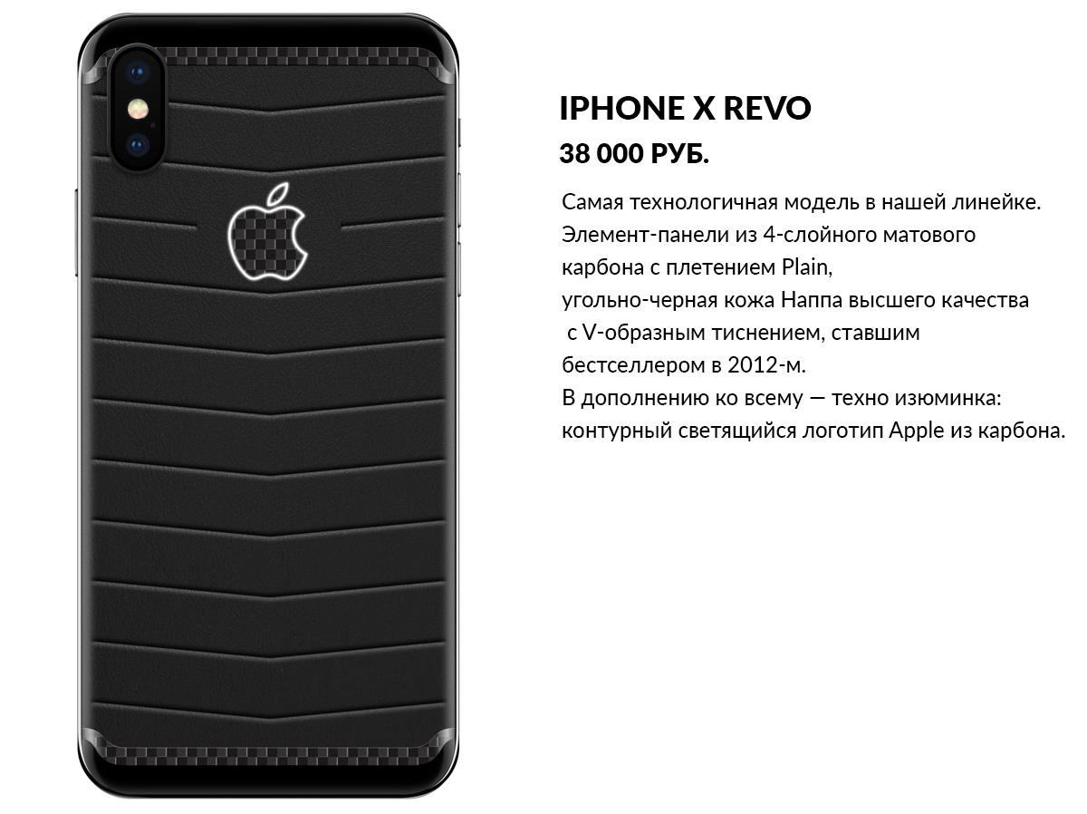 iPhone X из кожи и карбона. Модель Revo