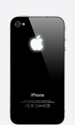 iPhone 4/4s со светящимся логотипом Apple