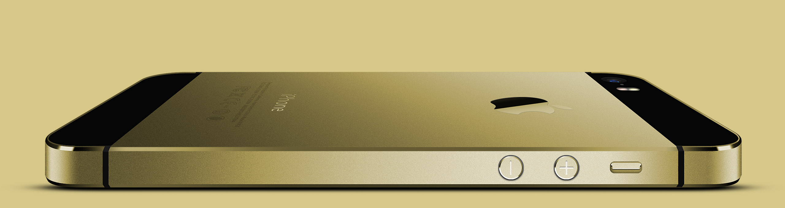 Золотой iPhone 5s, вид сбоку