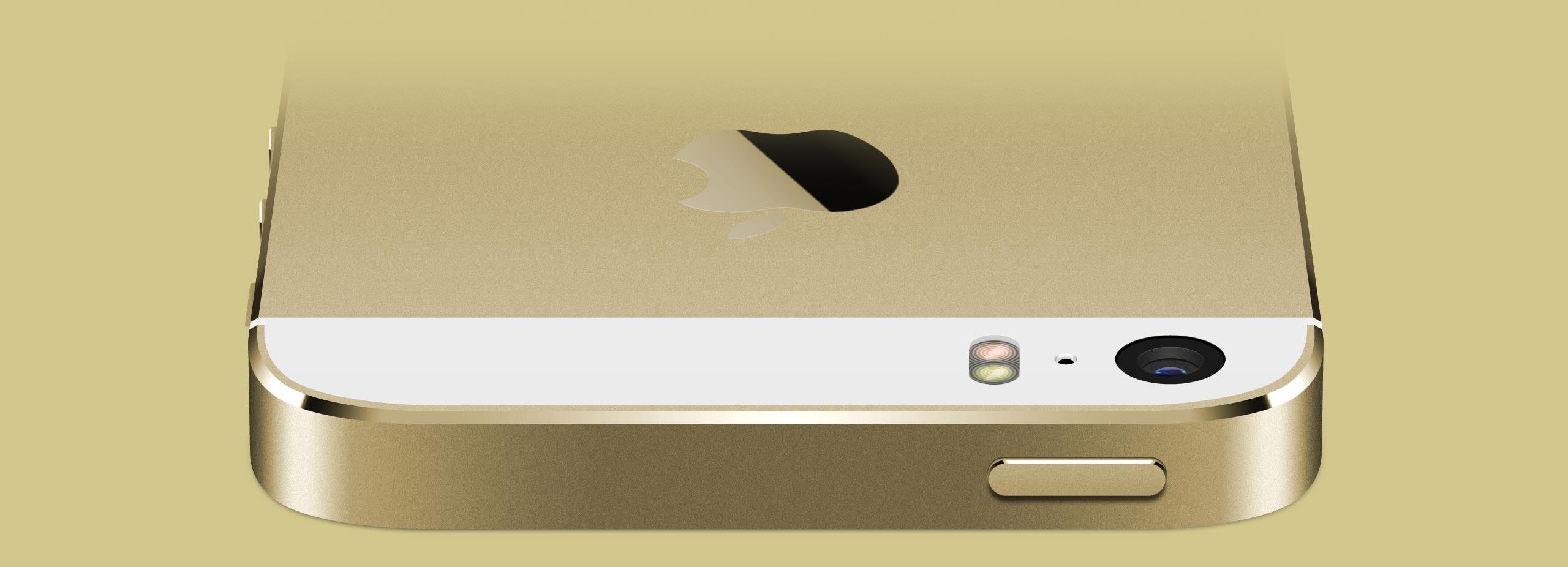 Золотой iPhone 5s, вид сверху