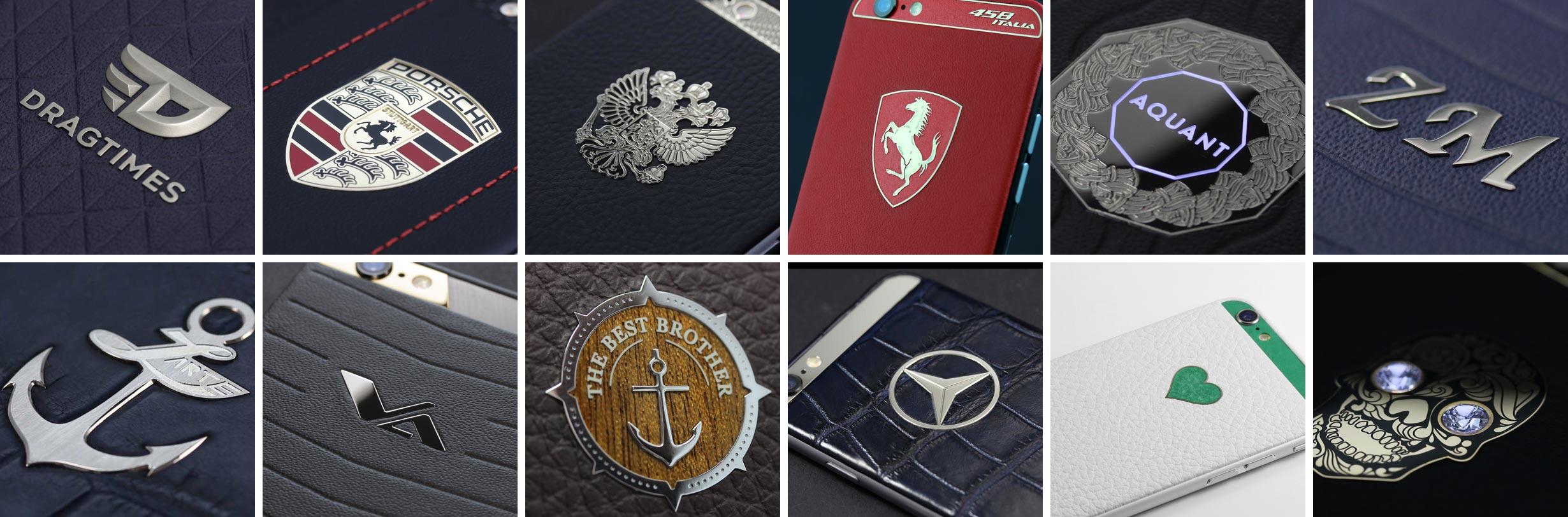Разнообразие логотипов для кожаного iPhone