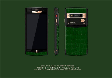 Показан Vertu Signature Touch Hunter Green Alligator