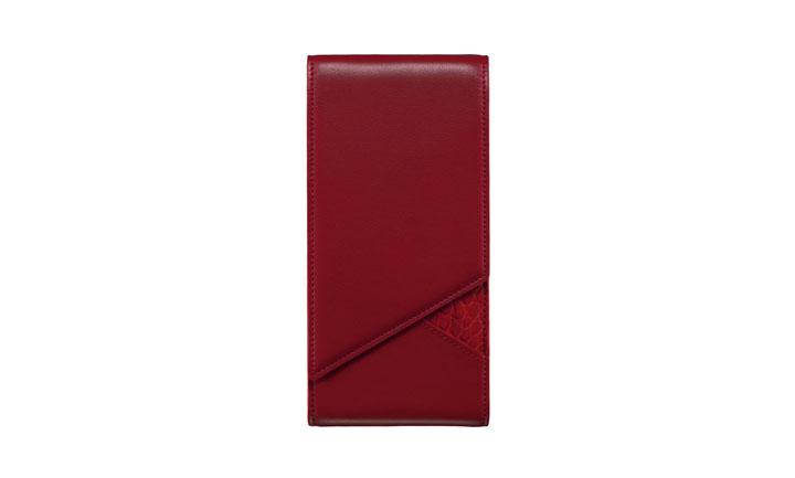 Чехол с откидным клапаном из телячьей кожи и кожи аллигатора красного цвета