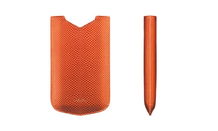 Чехол-футляр из кожи карунга оранжевого цвета