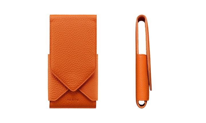 Чехол-оригами из кожи оранжевого цвета