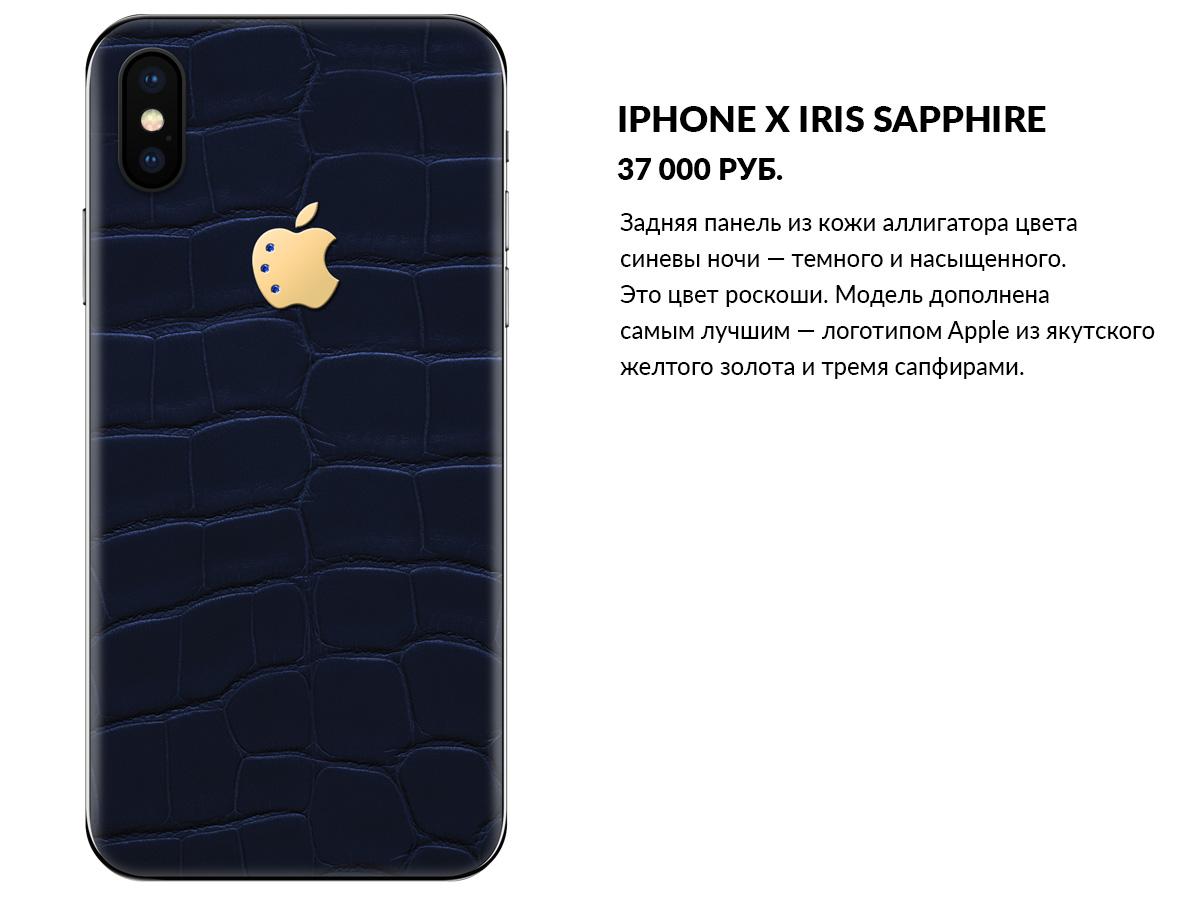 iPhone X из синей кожи аллигатора