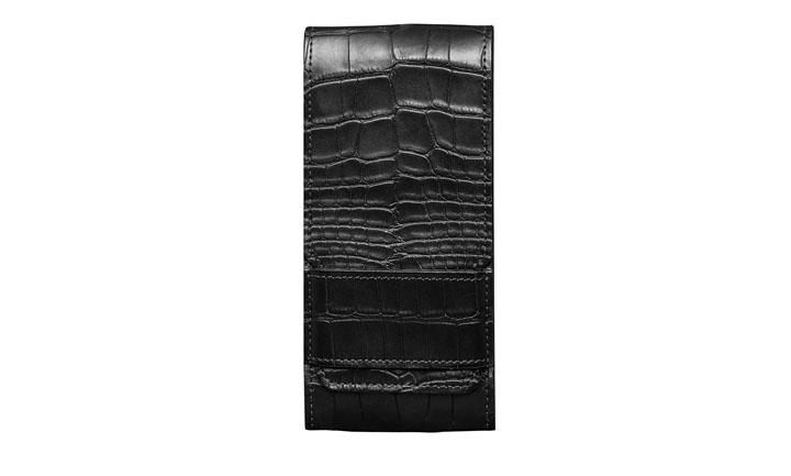 Чехол с откидным клапаном из кожи аллигатора угольно-черного цвета