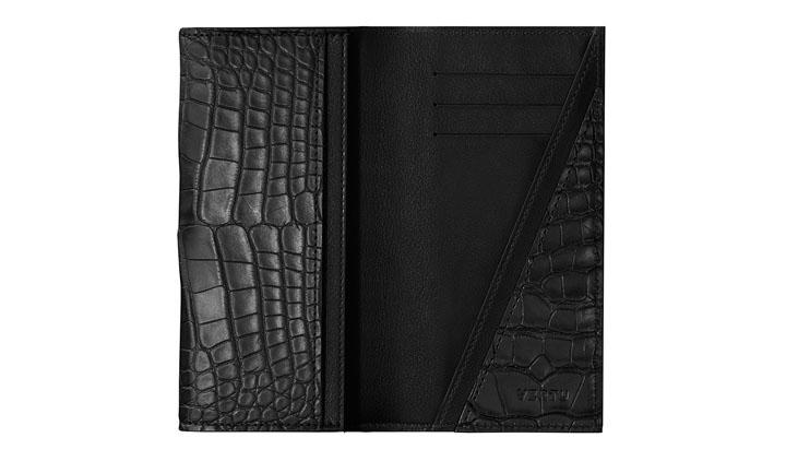 Чехол-кредитница из кожи аллигатора угольно-черного цвета