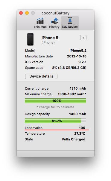 Проверяем циклы батареи через Coconutbattery Mac